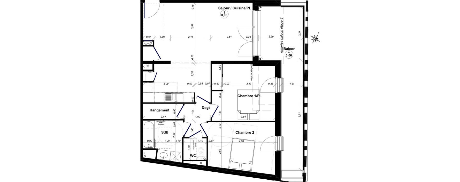 Appartement T3 de 71,45 m2 au Bouscat Coeur de ville