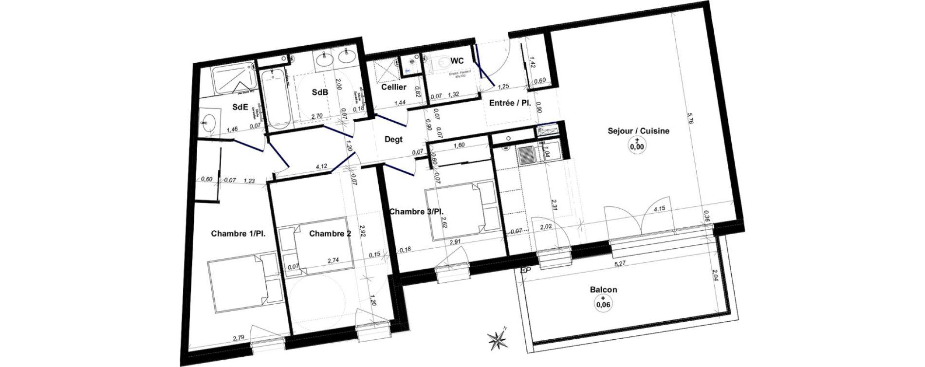 Appartement T4 de 86,57 m2 au Bouscat Coeur de ville