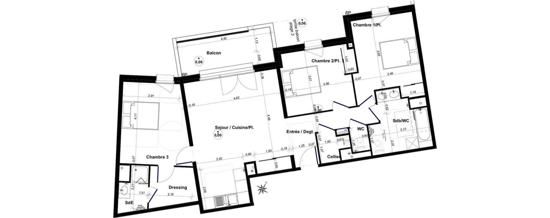 Appartement T4 de 92,59 m2 au Bouscat Coeur de ville