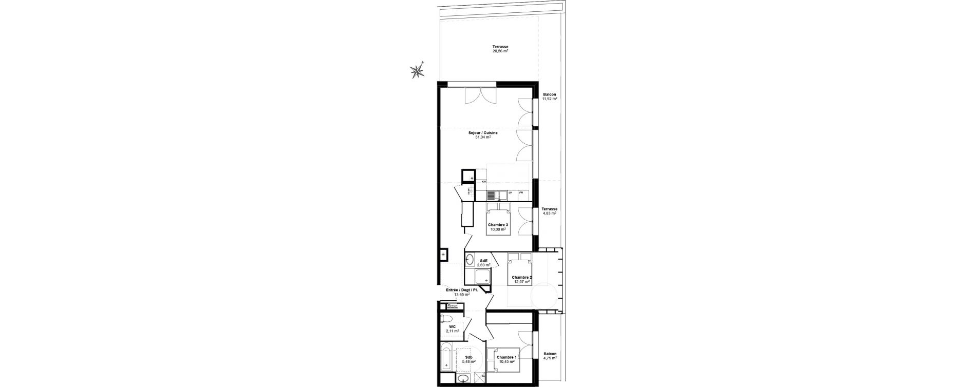 Appartement T4 de 87,99 m2 au Bouscat Coeur de ville