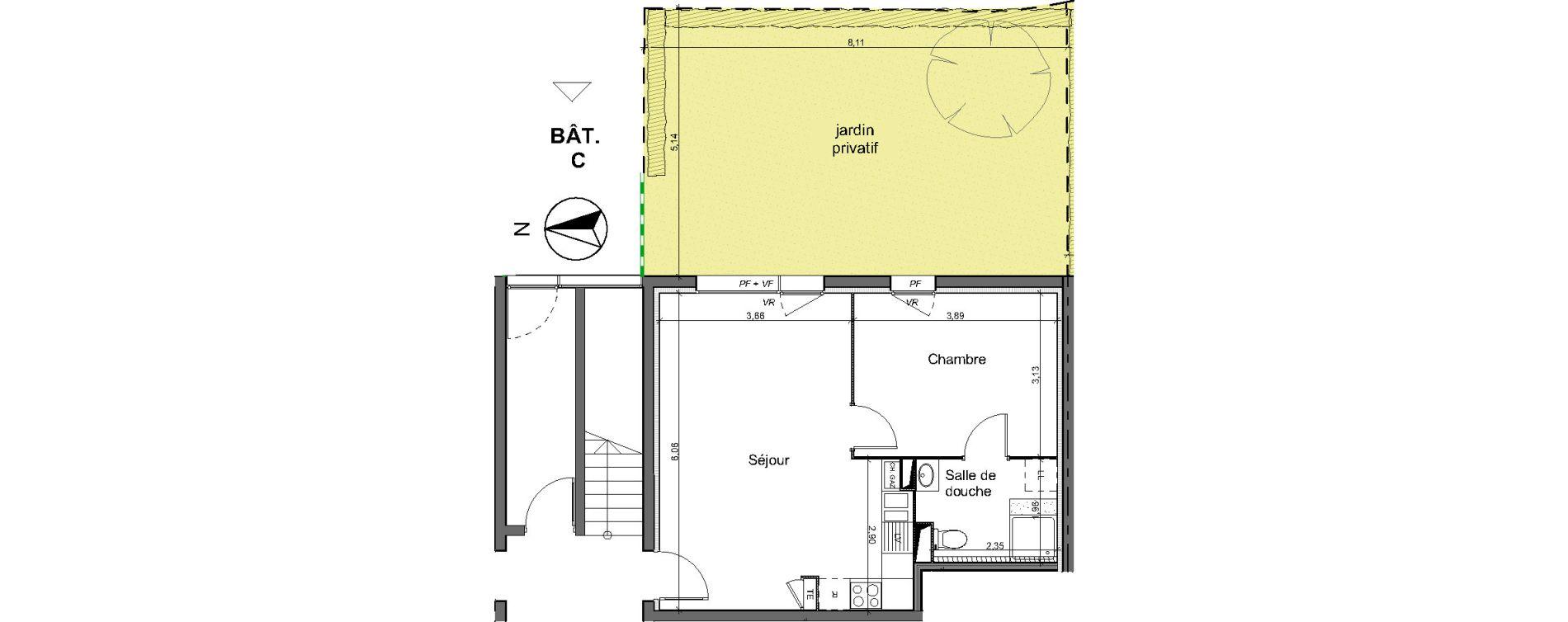 Appartement T2 de 42,40 m2 au Pian-Médoc Centre