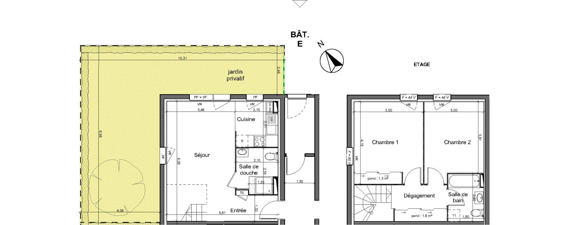Duplex T3 de 66,20 m2 au Pian-Médoc Centre