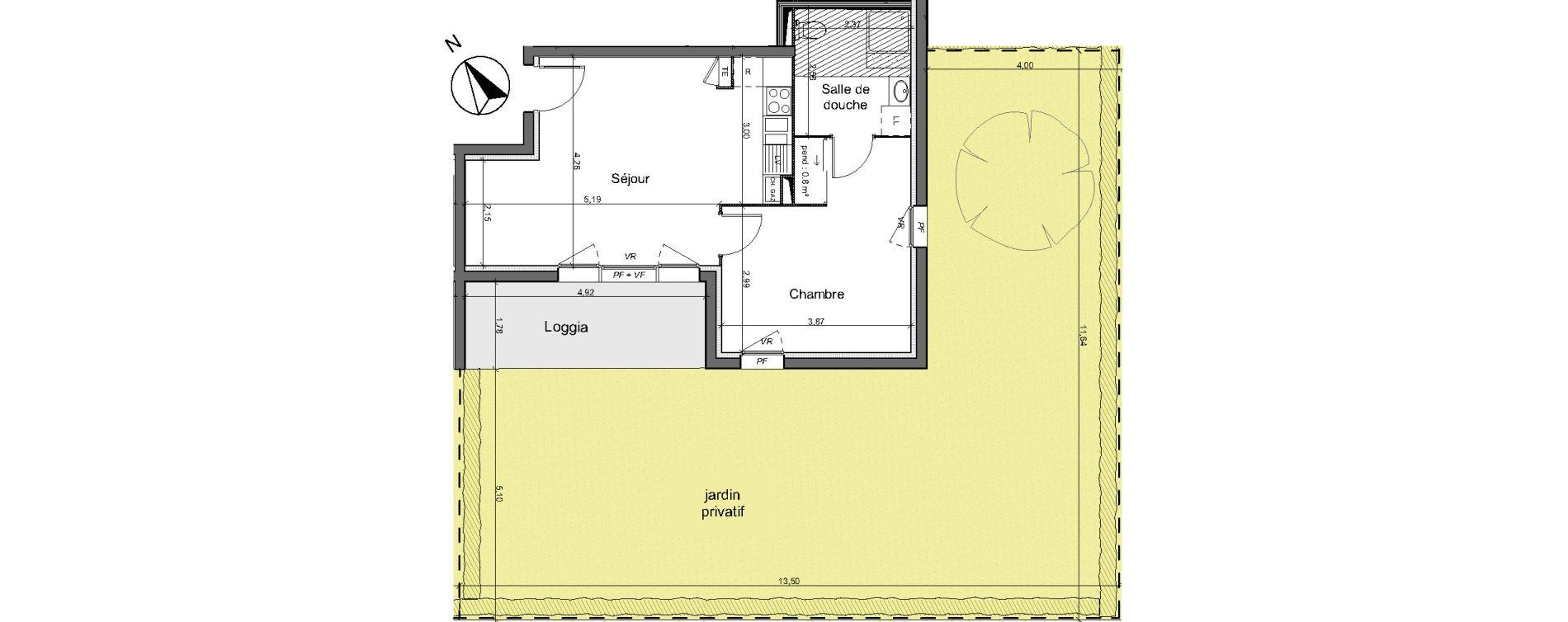 Appartement T2 de 44,20 m2 au Pian-Médoc Centre