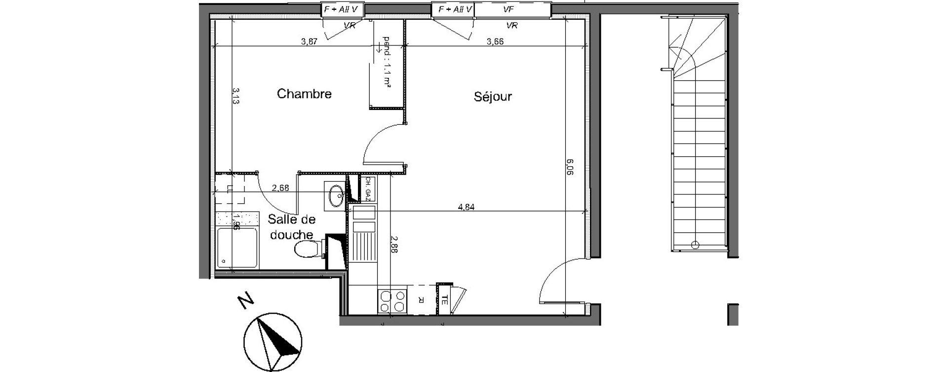 Appartement T2 de 42,20 m2 au Pian-Médoc Centre