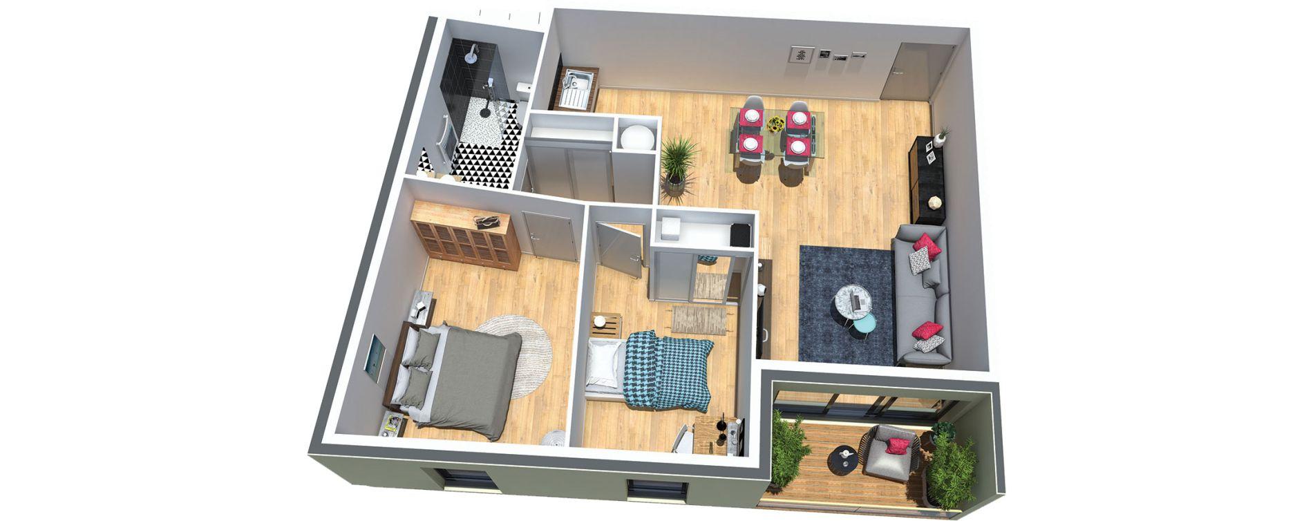 Appartement T3 de 63,40 m2 au Taillan-Médoc Centre