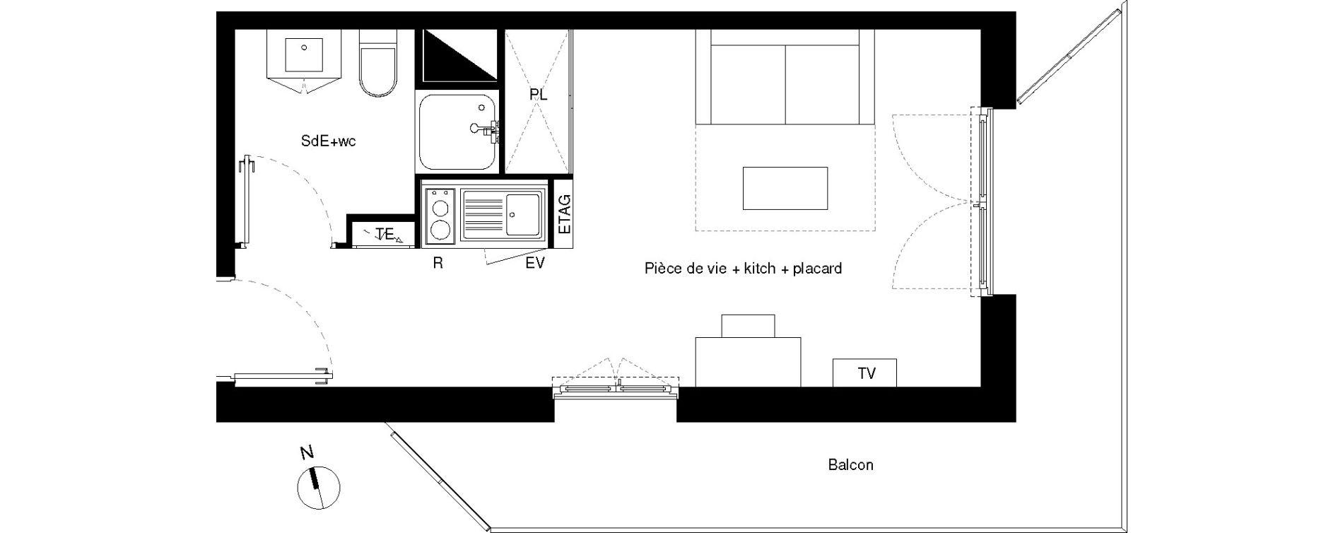 Plan T1 neuf à Lormont de