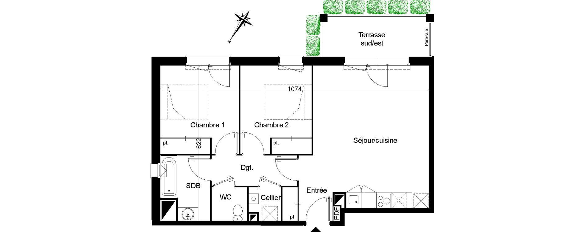Appartement T3 de 62,51 m2 à Martignas-Sur-Jalle Centre