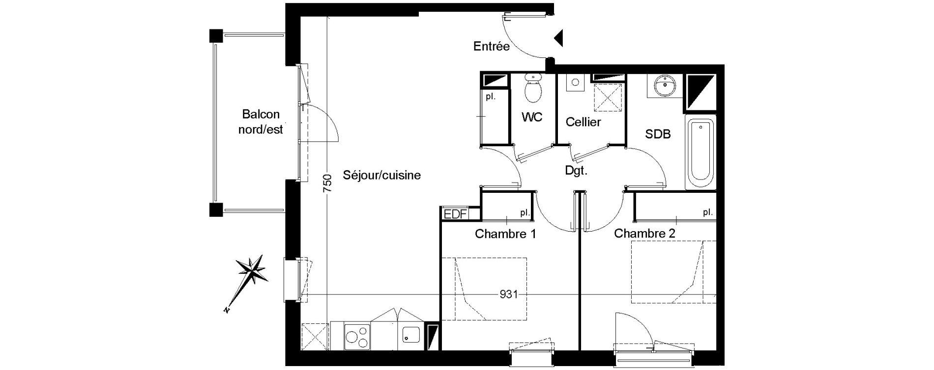 Appartement T3 de 62,41 m2 à Martignas-Sur-Jalle Centre