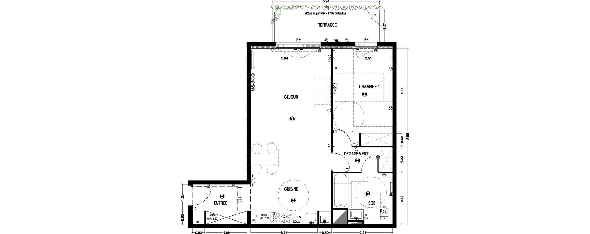 Appartement T2 de 62,89 m2 à Mérignac La glaciere