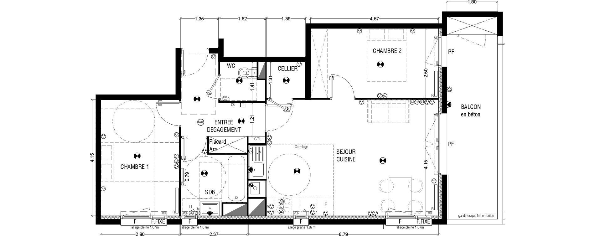 Appartement T3 de 65,75 m2 à Mérignac La glaciere