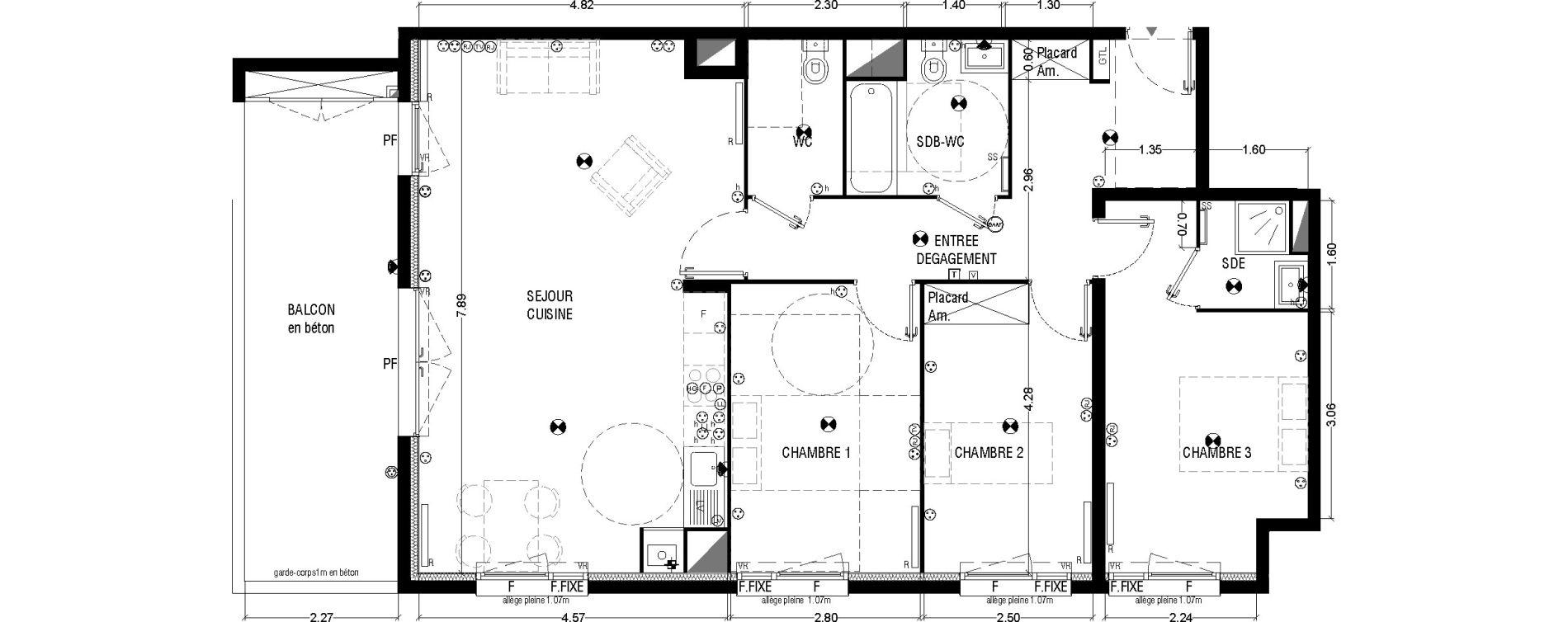 Appartement T4 de 94,39 m2 à Mérignac La glaciere