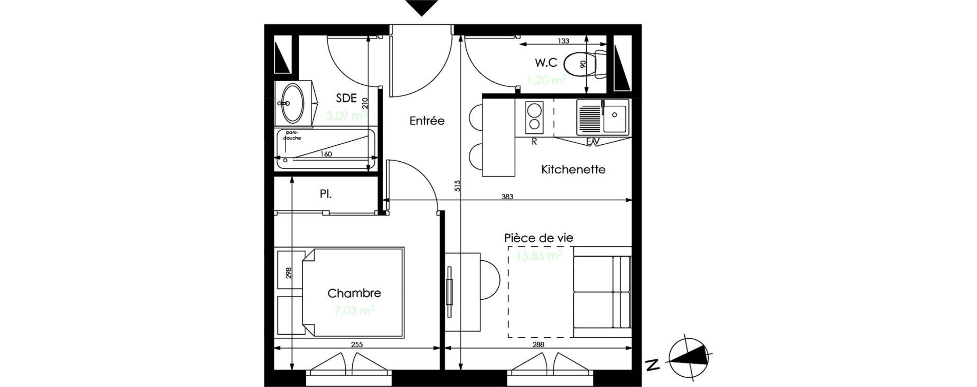Appartement T2 de 27,18 m2 à Mérignac Capeyron