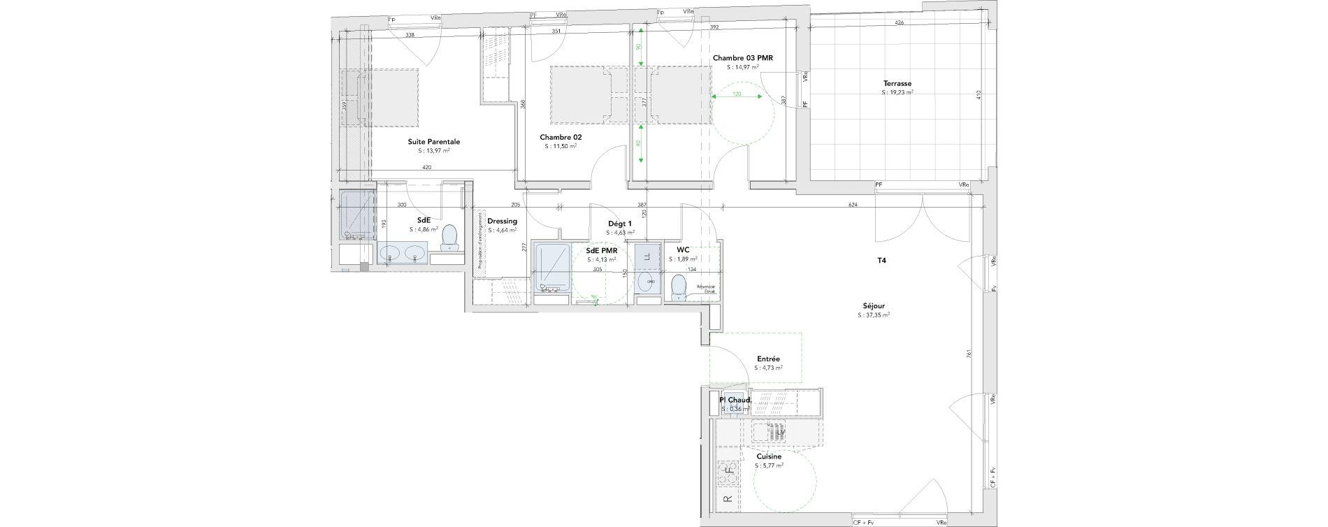 Appartement T4 de 108,80 m2 à Mérignac Merignac centre
