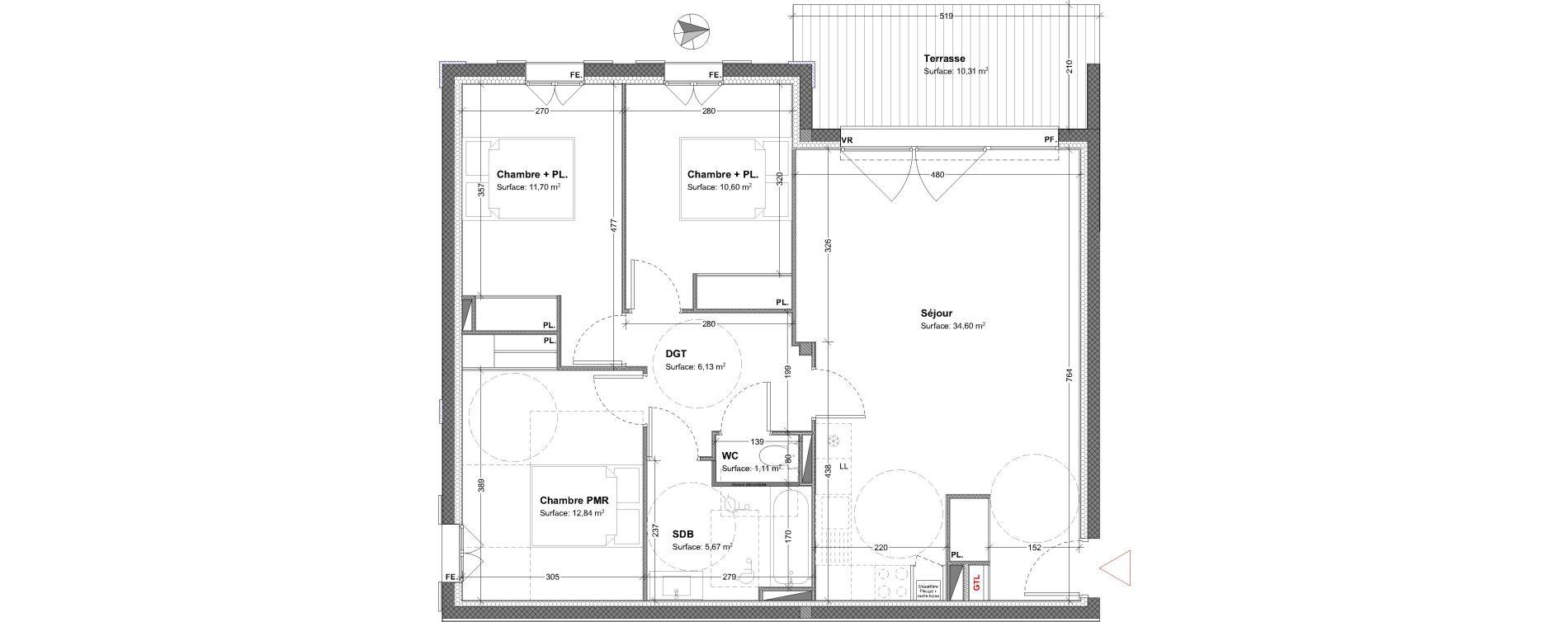 Appartement T4 de 82,18 m2 à Parempuyre Centre