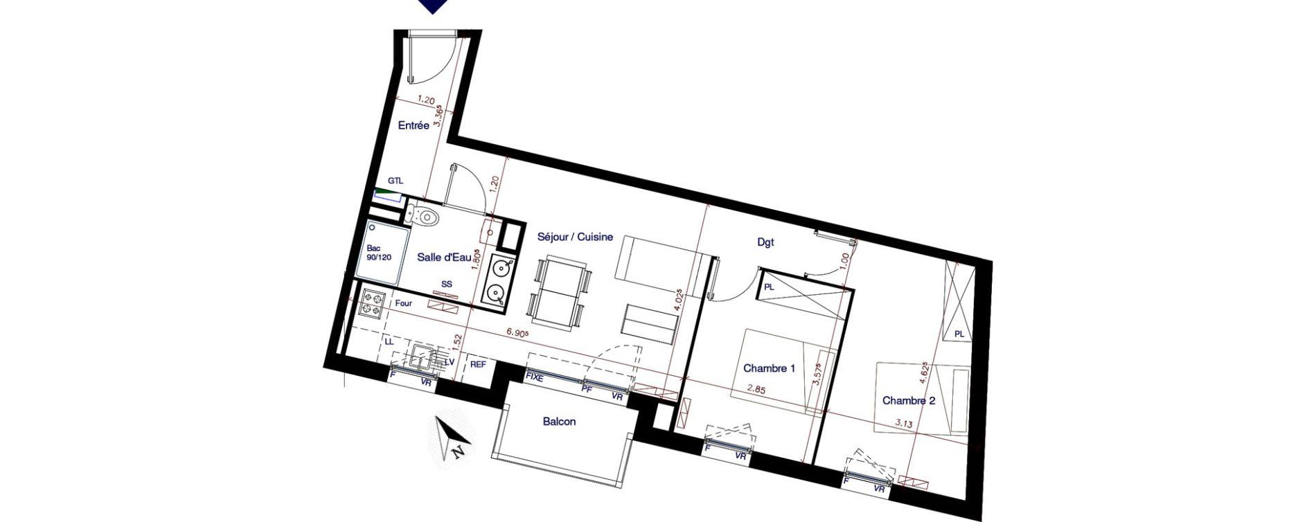 Appartement T3 de 56,50 m2 à Parempuyre Centre