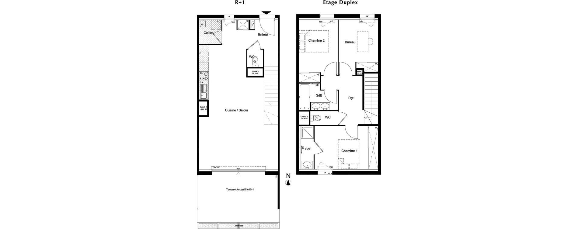 Duplex T3 de 88,09 m2 à Pessac Chiquet – fontaudin