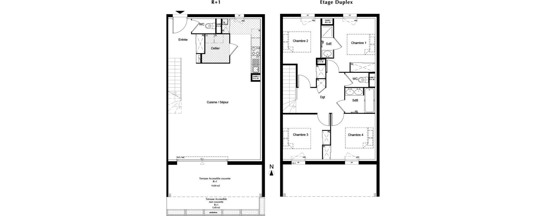 Duplex T5 de 110,75 m2 à Pessac Chiquet – fontaudin