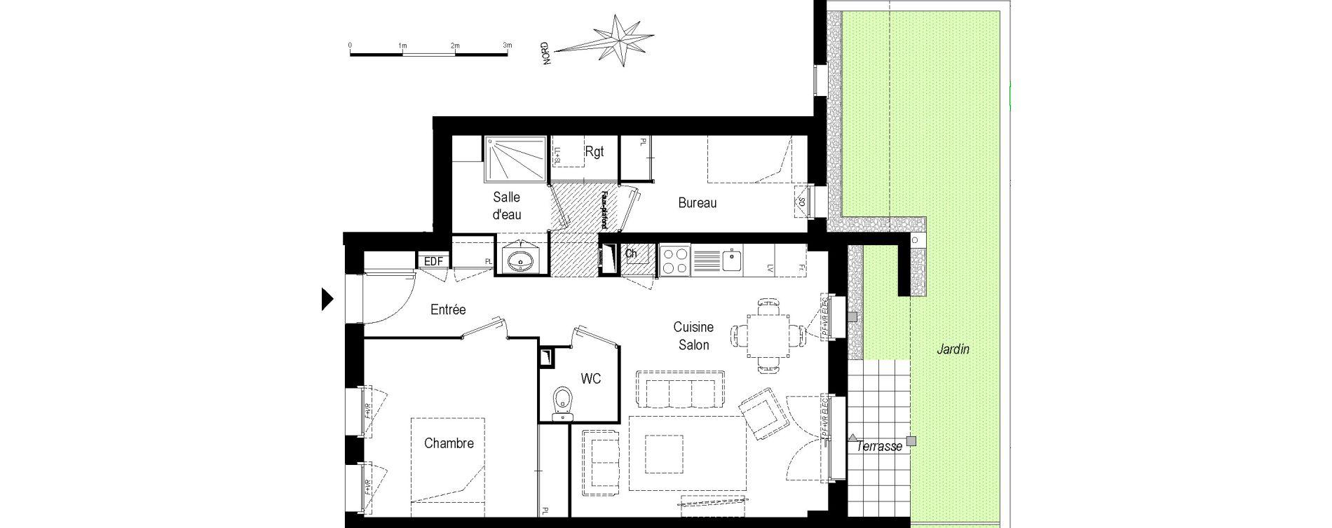 Appartement T2 bis de 57,50 m2 à Saint-Médard-En-Jalles Centre