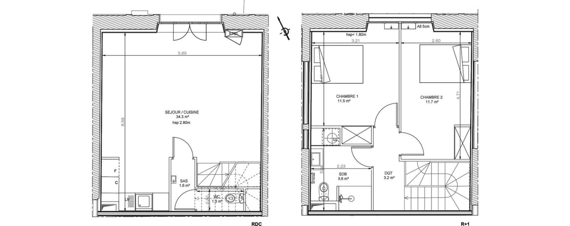 Duplex T3 de 69,20 m2 à Sainte-Eulalie Centre