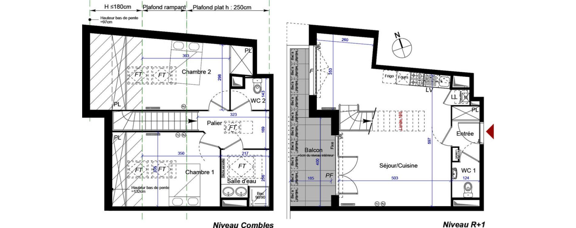 Duplex T3 de 76,74 m2 à Talence Centre