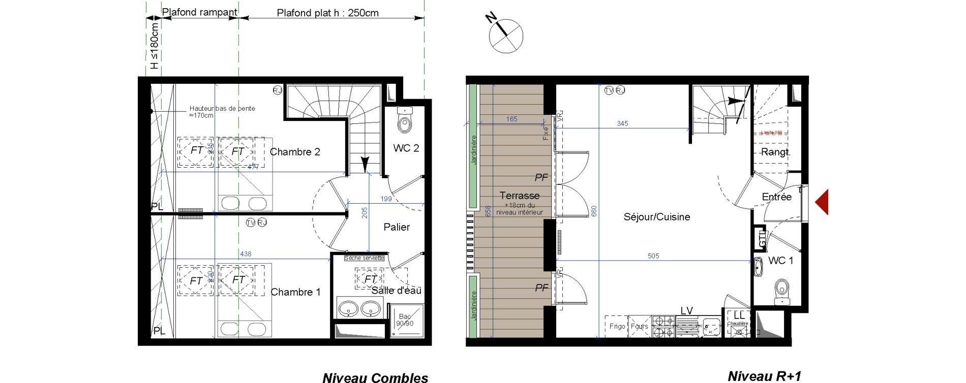 Duplex T3 de 76,15 m2 à Talence Centre