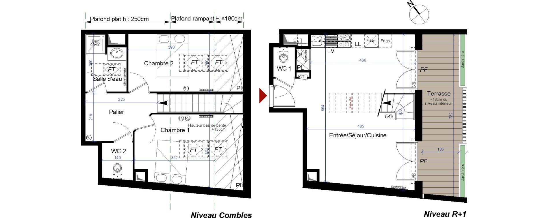 Duplex T3 de 66,98 m2 à Talence Centre