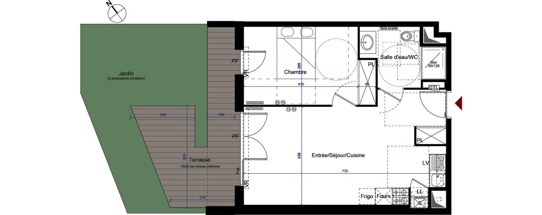 Appartement T2 de 45,68 m2 à Talence Centre