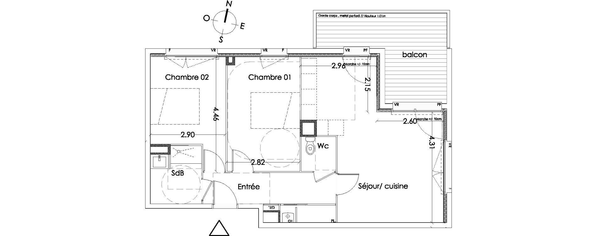 Appartement T3 de 62,30 m2 à Villenave-D'Ornon Centre