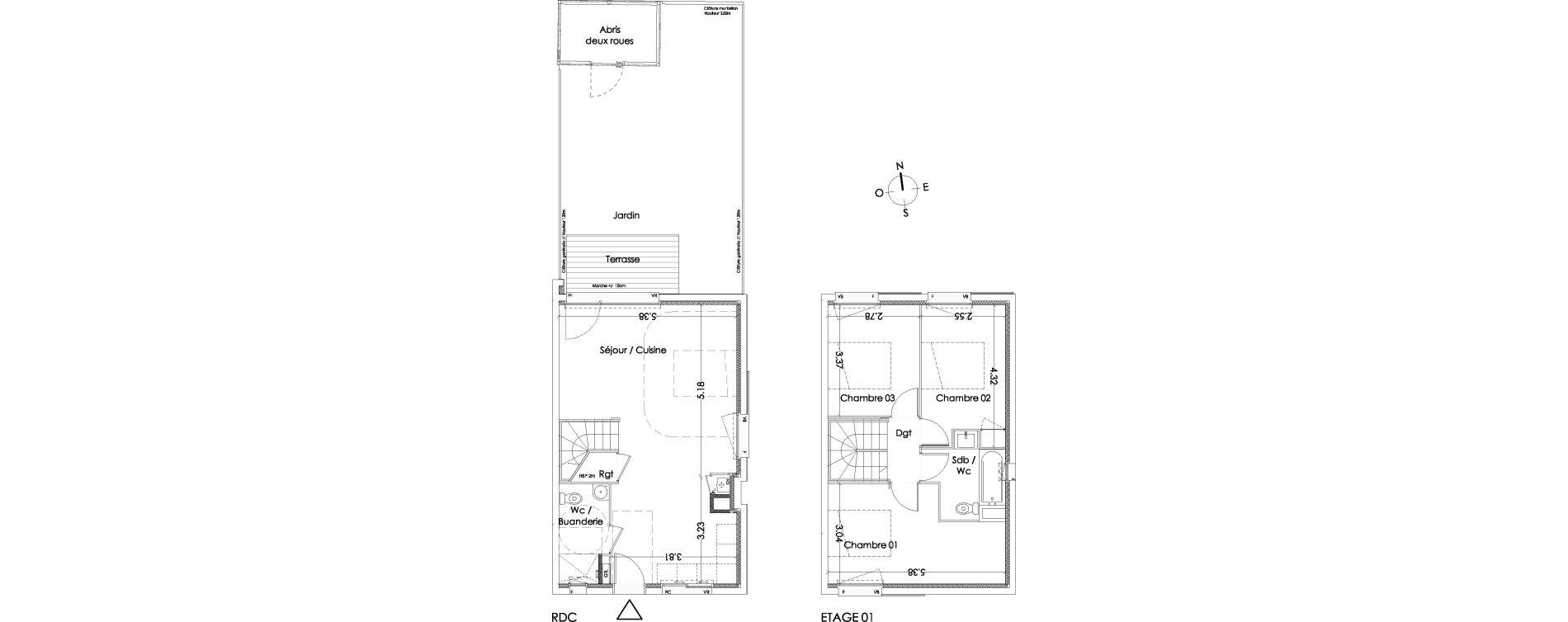 Maison T4 de 82,30 m2 à Villenave-D'Ornon Centre