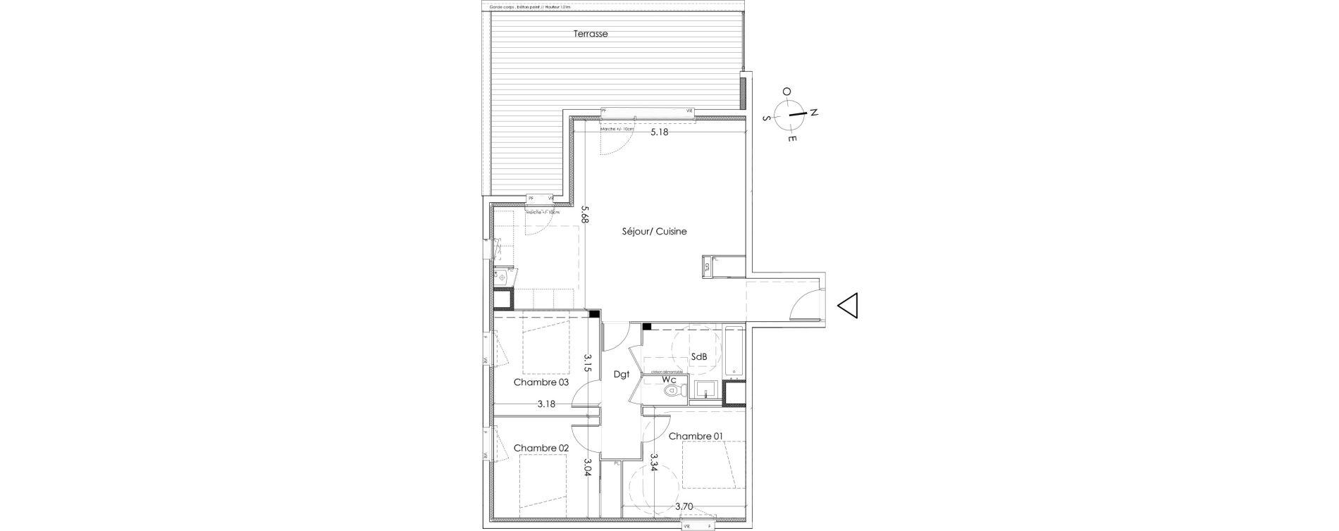 Appartement T4 de 79,60 m2 à Villenave-D'Ornon Centre