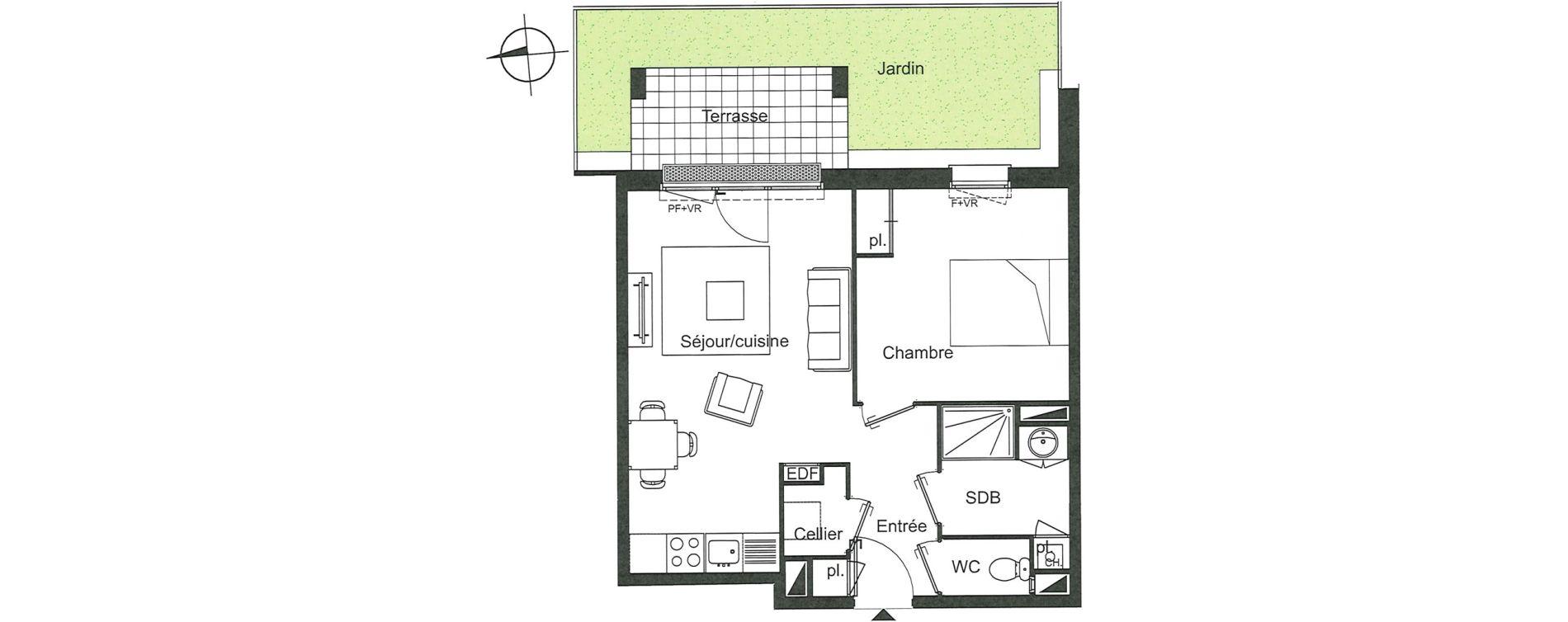 Appartement T2 de 44,21 m2 à Villenave-D'Ornon Le bocage
