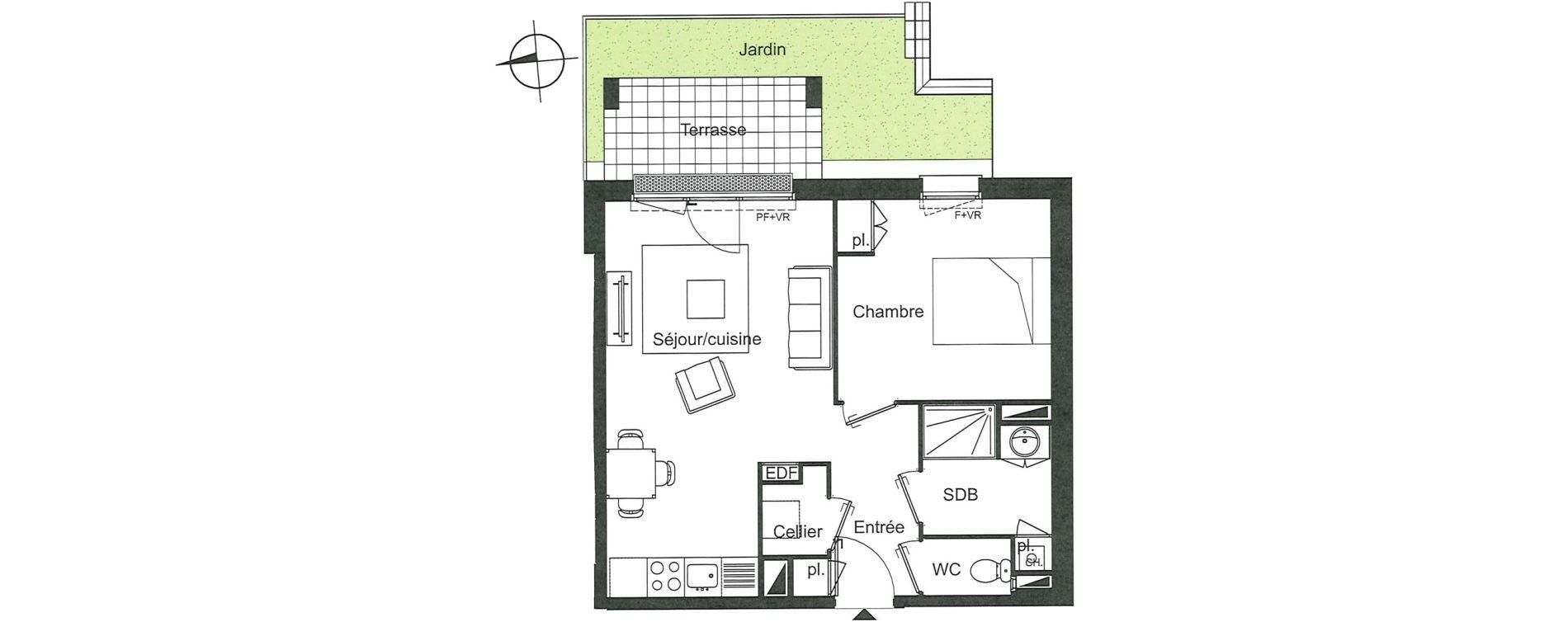 Appartement T2 de 44,01 m2 à Villenave-D'Ornon Le bocage