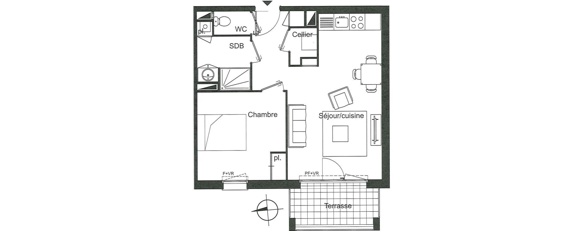 Appartement T2 de 45,01 m2 à Villenave-D'Ornon Le bocage