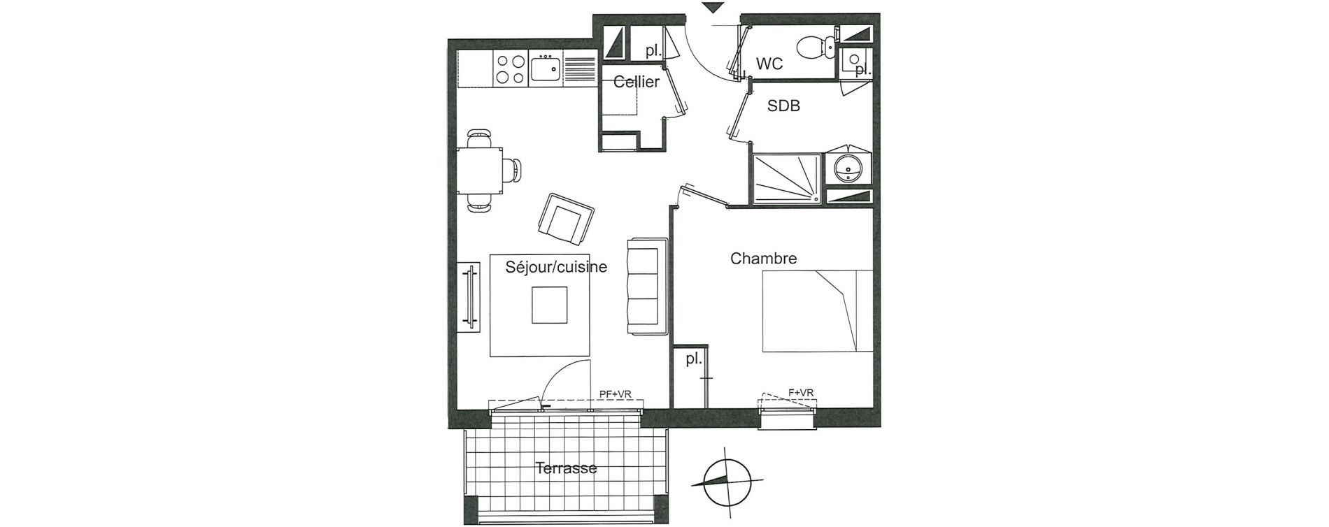 Appartement T2 de 44,35 m2 à Villenave-D'Ornon Le bocage