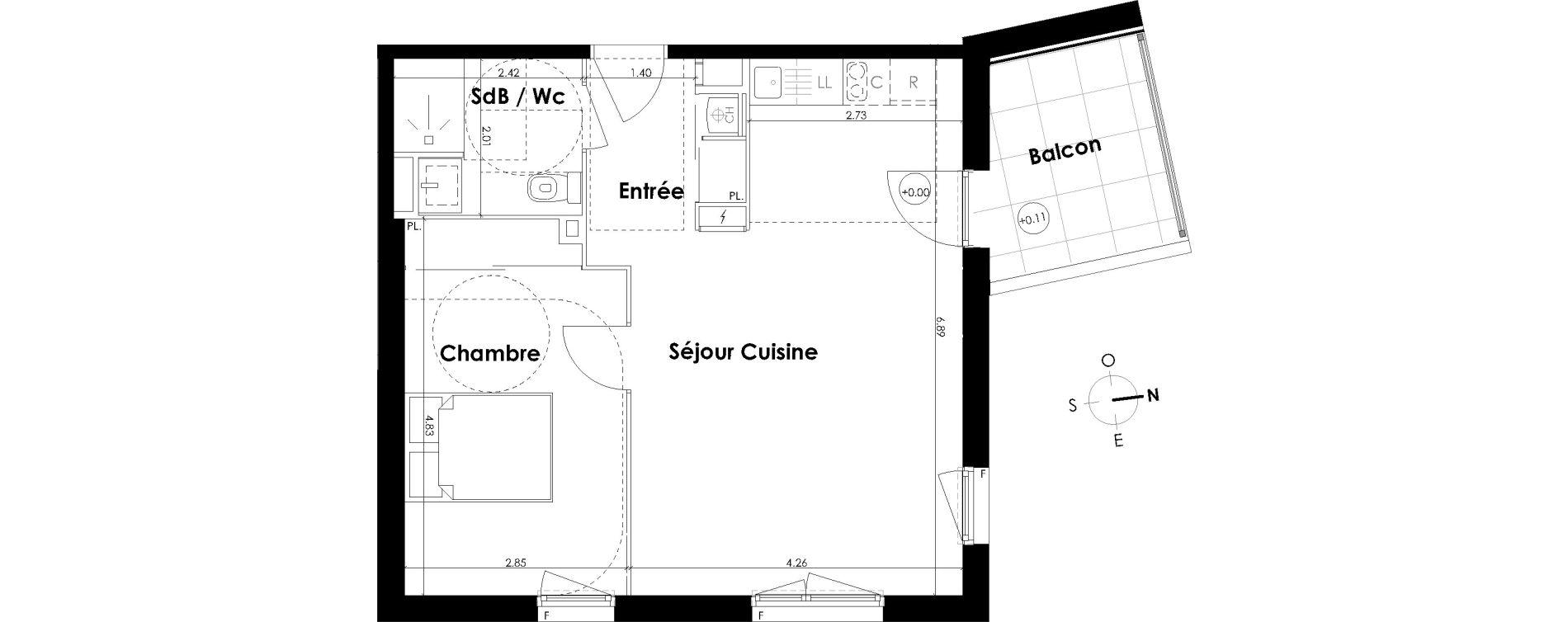 Appartement T2 de 48,09 m2 à Villenave-D'Ornon Centre