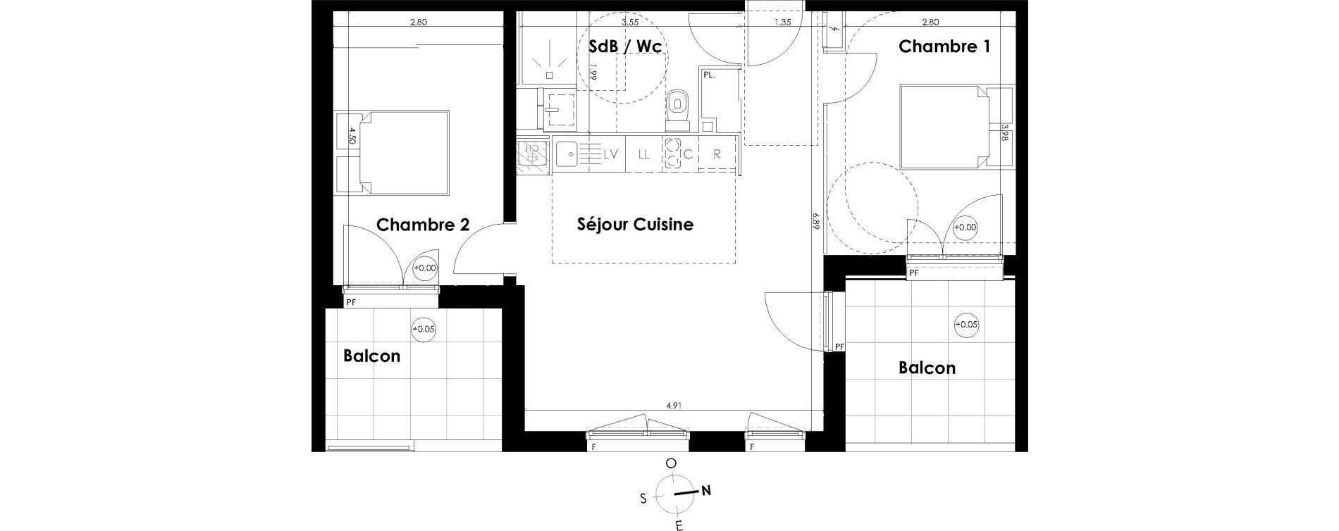 Appartement T3 de 58,24 m2 à Villenave-D'Ornon Centre