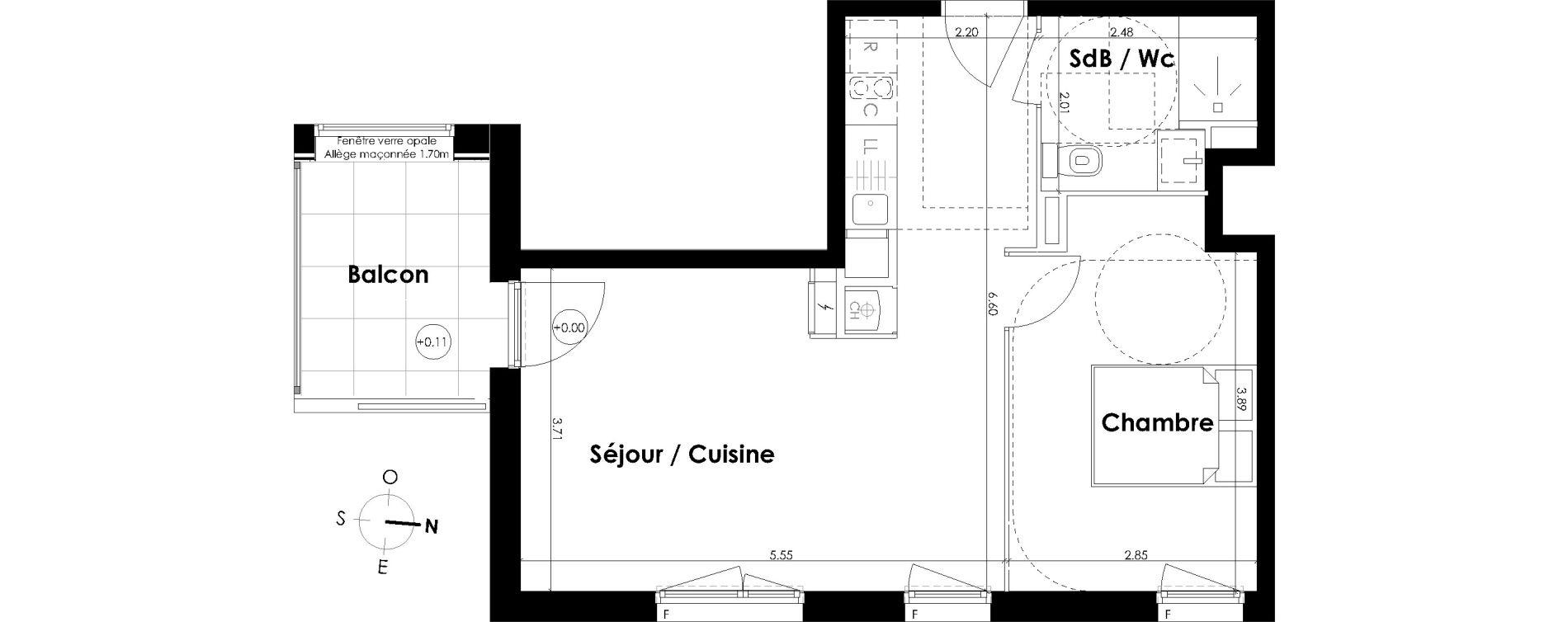 Appartement T2 de 42,69 m2 à Villenave-D'Ornon Centre
