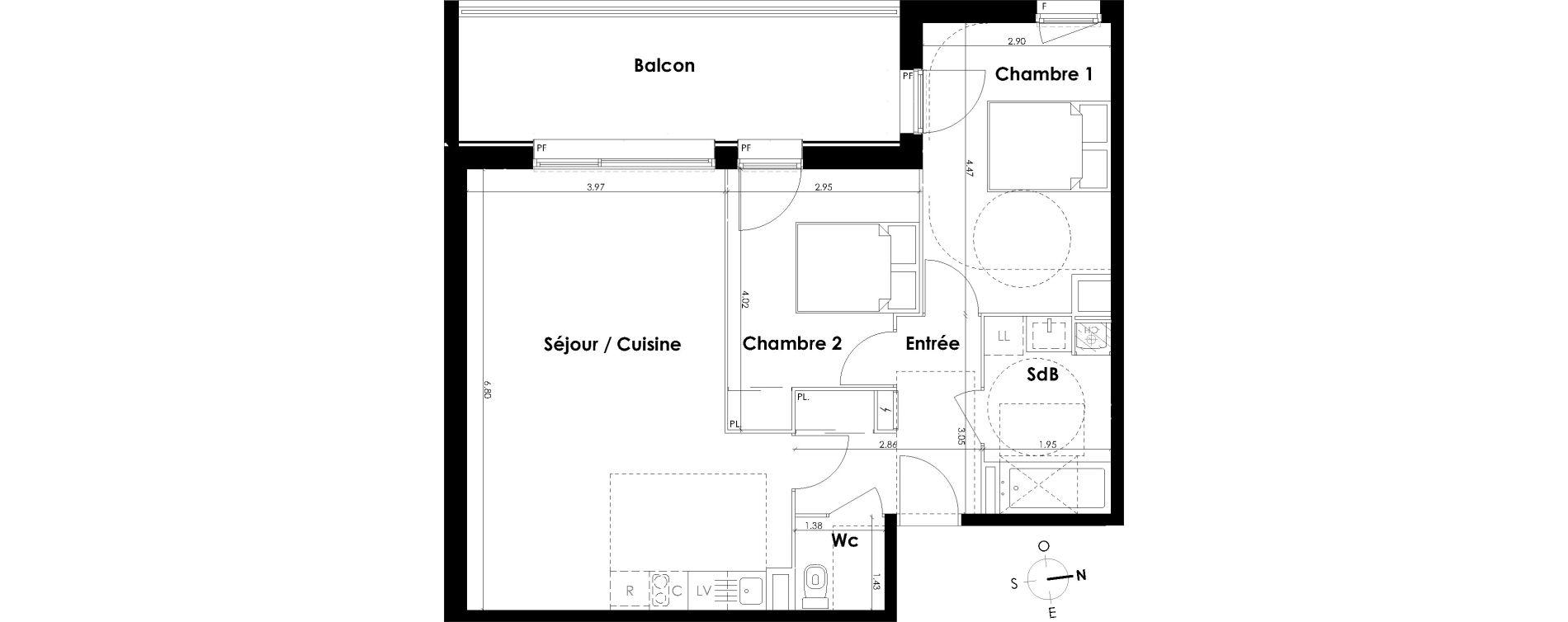 Appartement T3 de 66,63 m2 à Villenave-D'Ornon Centre