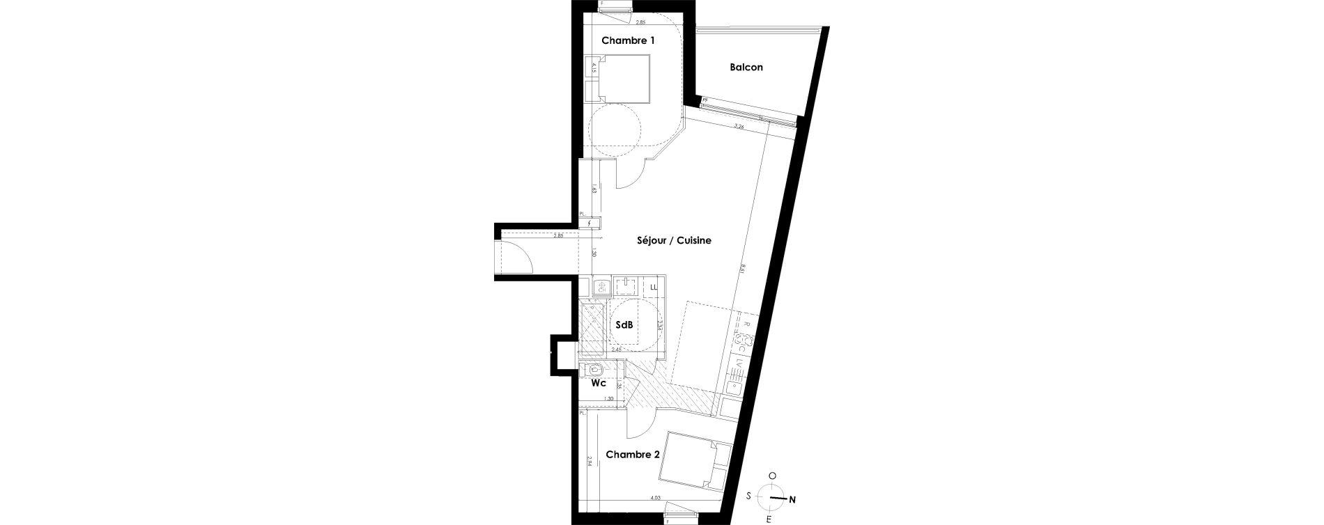 Appartement T3 de 67,72 m2 à Villenave-D'Ornon Centre