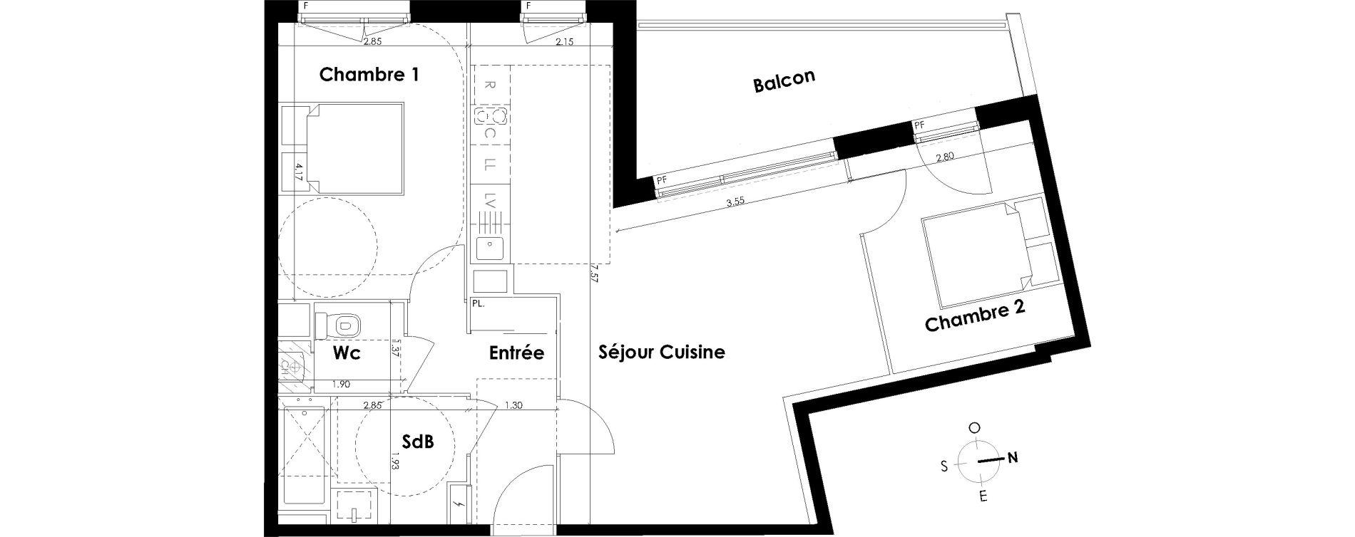 Appartement T3 de 63,21 m2 à Villenave-D'Ornon Centre