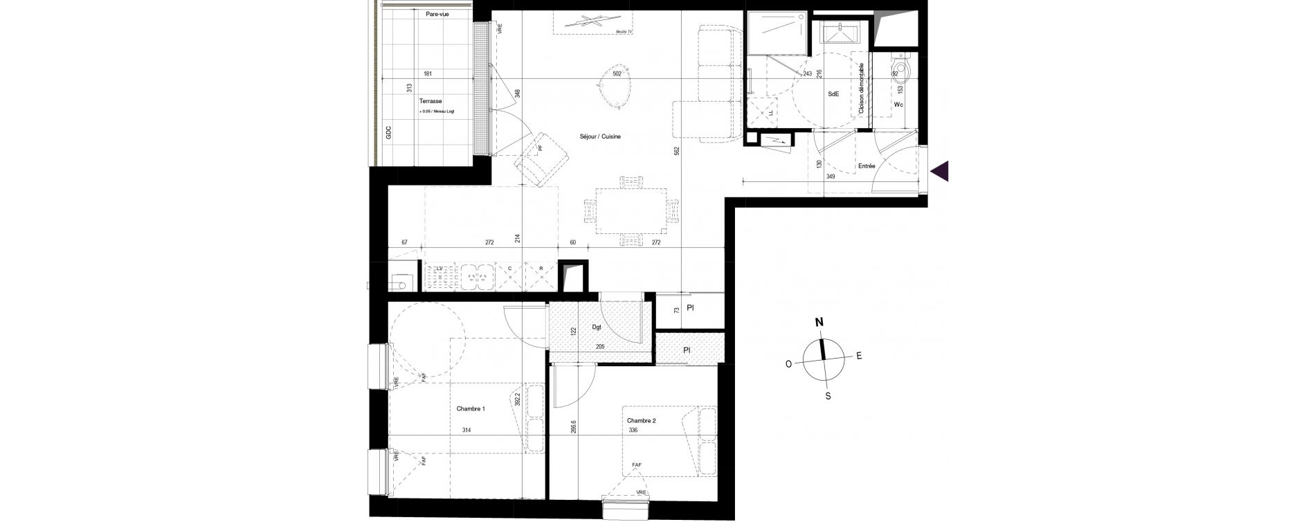 Appartement T3 de 68,40 m2 à Villenave-D'Ornon Centre