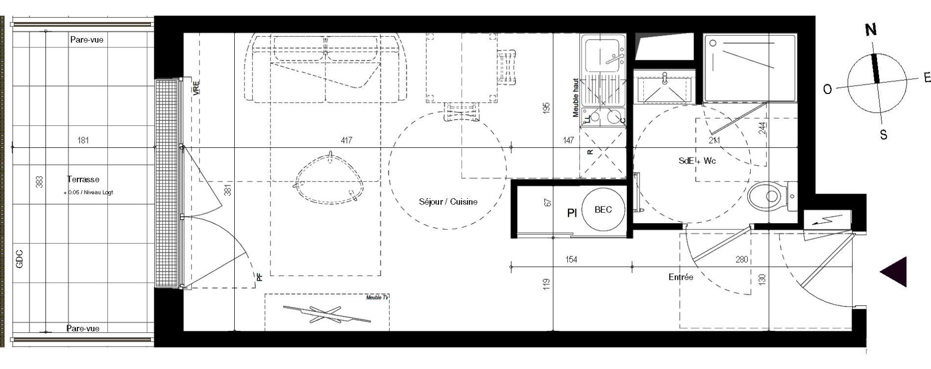 Appartement T1 de 29,78 m2 à Villenave-D'Ornon Centre