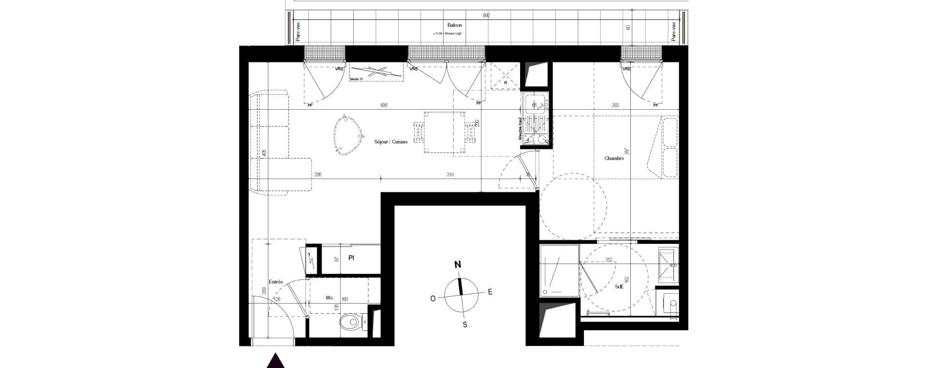 Appartement T2 de 44,04 m2 à Villenave-D'Ornon Centre