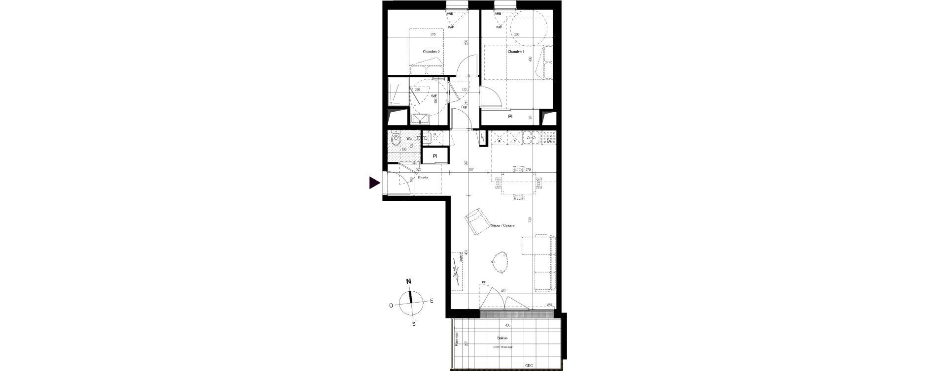 Appartement T3 de 68,16 m2 à Villenave-D'Ornon Centre