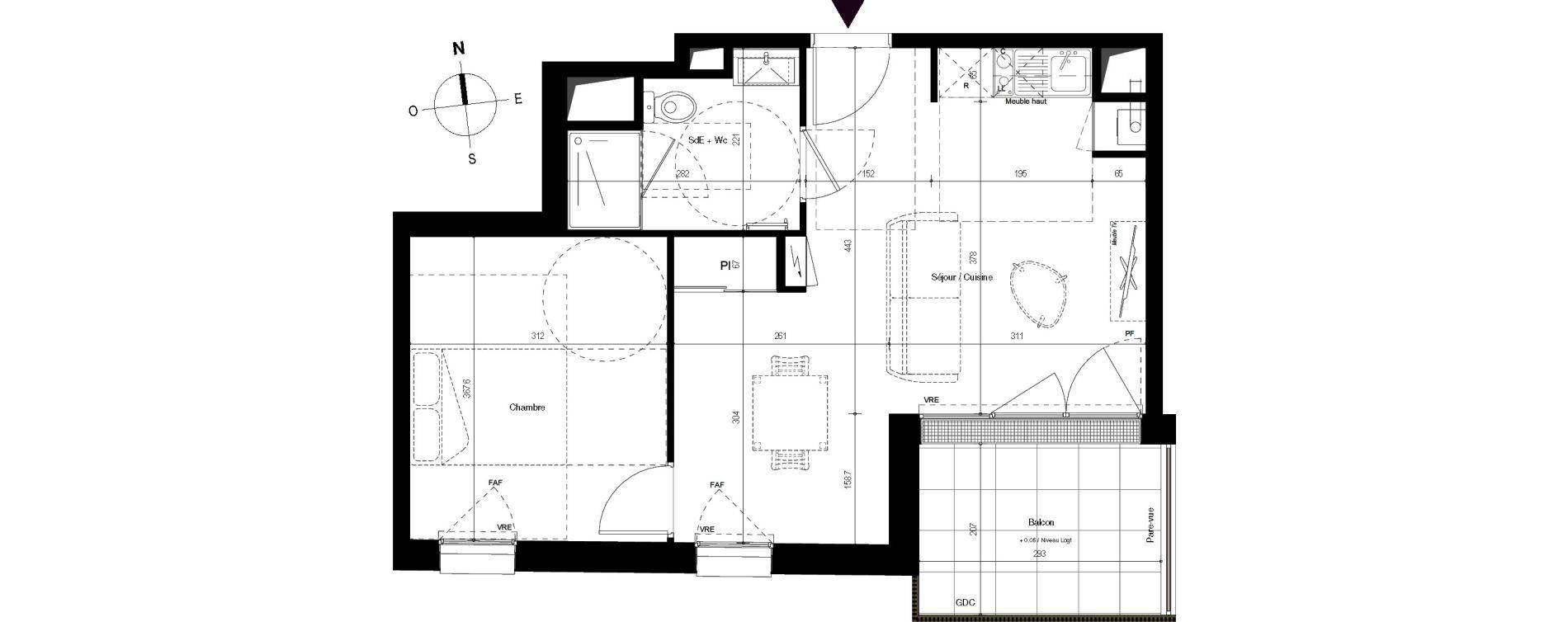 Appartement T2 de 41,49 m2 à Villenave-D'Ornon Centre