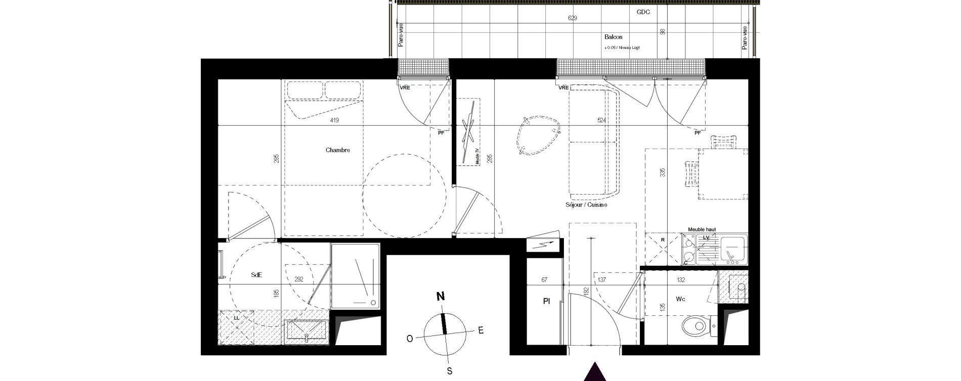 Appartement T2 de 38,46 m2 à Villenave-D'Ornon Centre