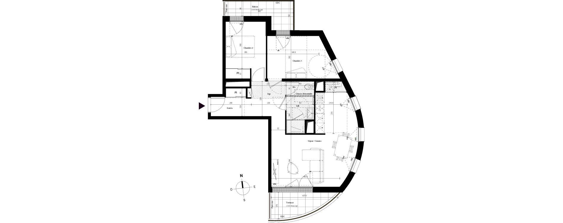 Appartement T3 de 64,09 m2 à Villenave-D'Ornon Centre