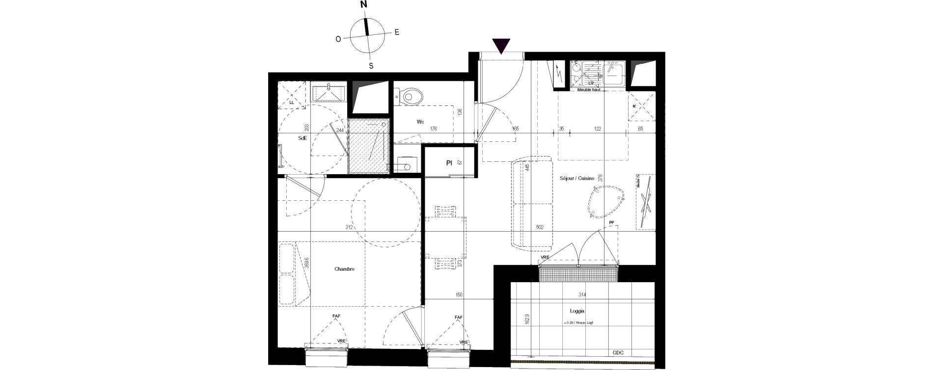 Appartement T2 de 40,79 m2 à Villenave-D'Ornon Centre