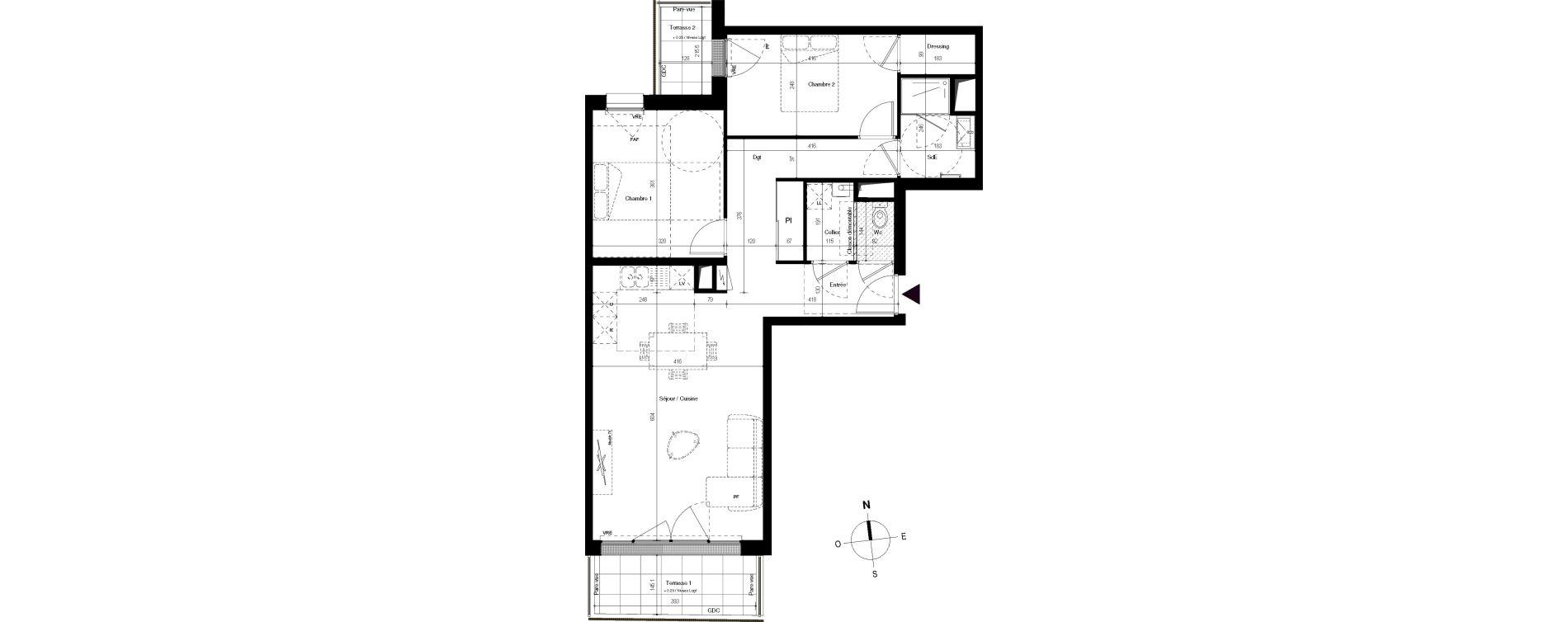 Appartement T3 de 70,54 m2 à Villenave-D'Ornon Centre