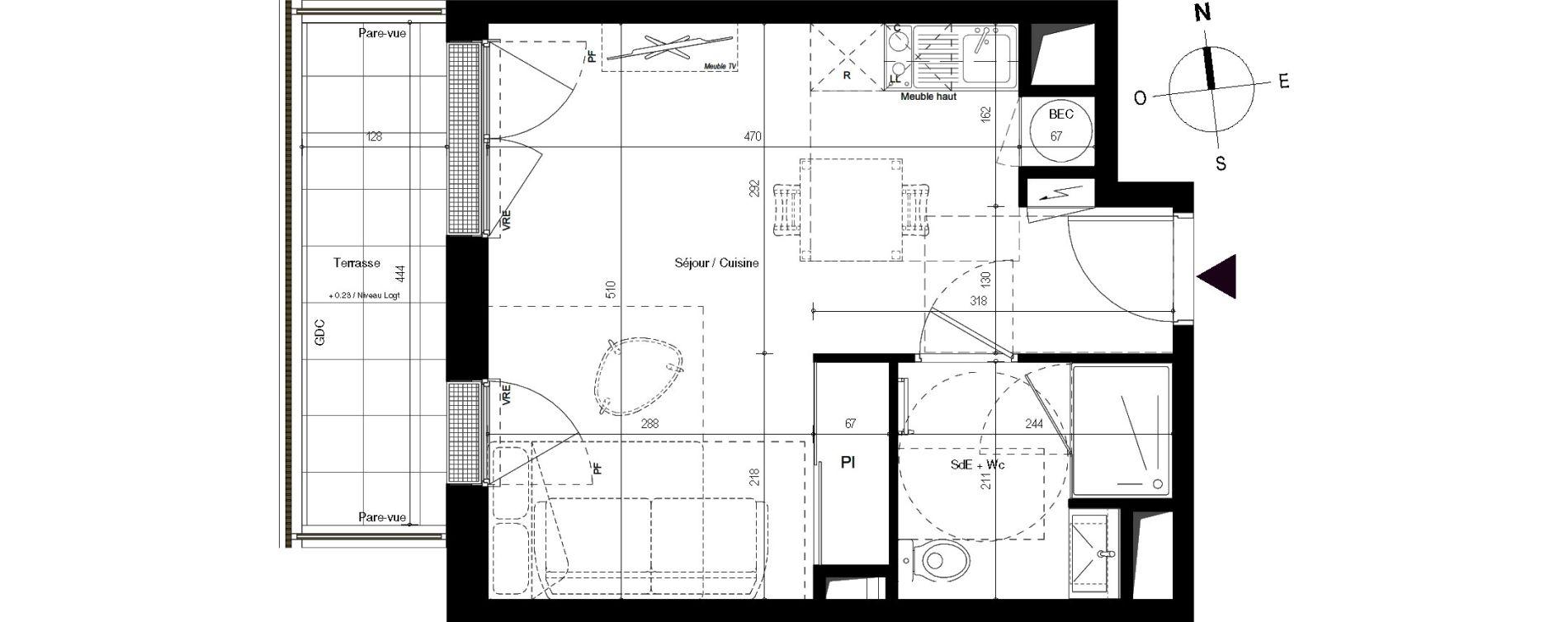 Appartement T1 de 28,10 m2 à Villenave-D'Ornon Centre